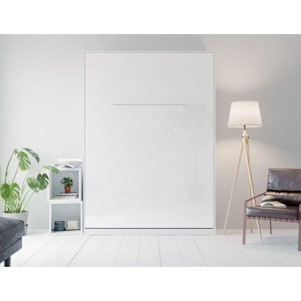 Premium Style Skabsseng 140x200. Lodret-hvid/hvid Blank