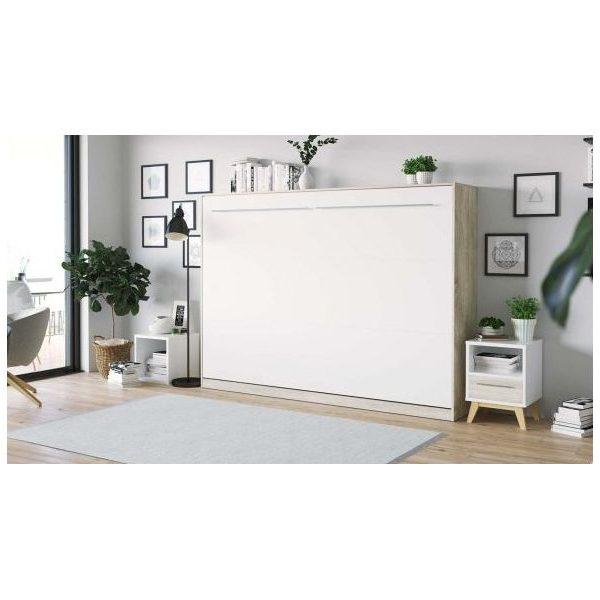 Premium Style Skabsseng 140x200. Vandret-sonoma/hvid