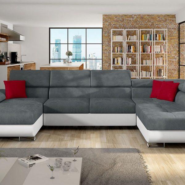 Alvano Grande U- Sofa : Højre, Pu Læder Soft 017 (Hvid) + Mono 245 + Solo 256