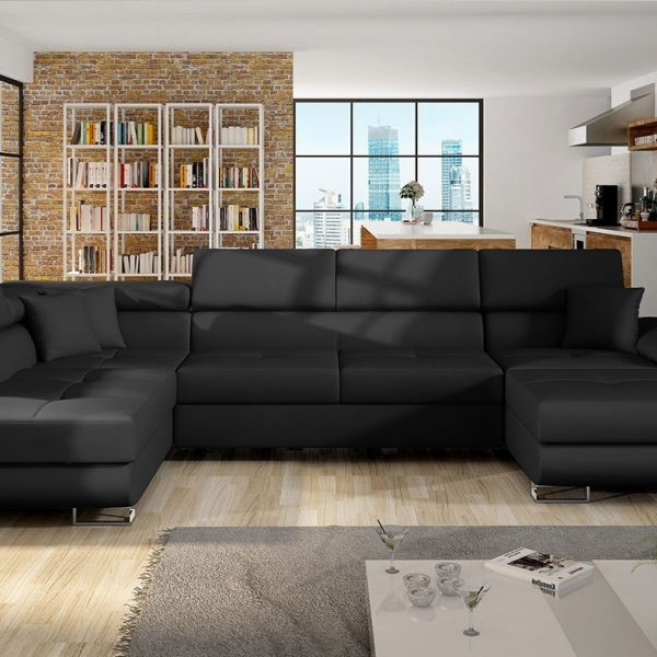 Alvano Grande U- Sofa : Venstre - U, Soft Pu Læder 011 T (Sort)