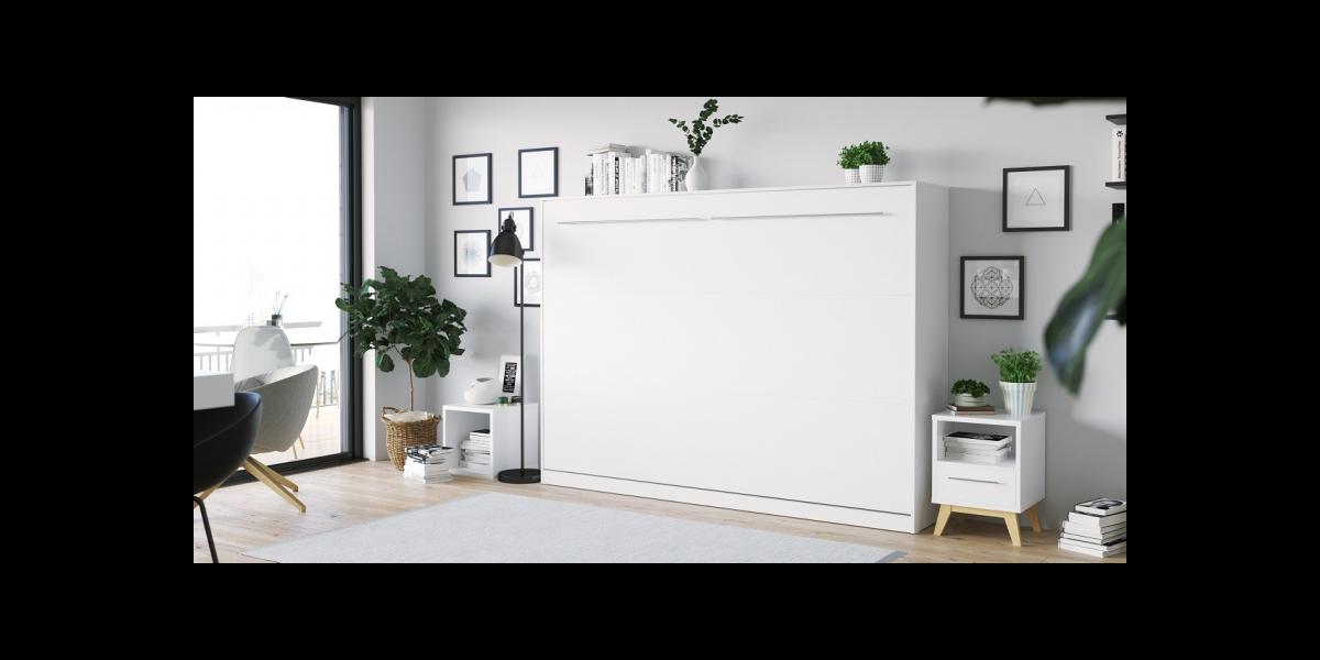 Concetto Vægseng - 140 x 200 Cm : Skab: Hvid, Front: Hvid Mat
