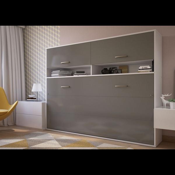 Invento Vægseng Med Overskabe - 140x200 Cm : Skab: Grå, Front: Hvid Monaco, Variant 01 — In 12