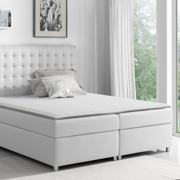 Kontinental Duo Box : 120x200, Soft Pu Læder 017 (Hvid)