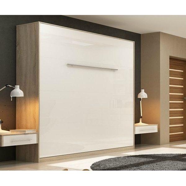 Premium Style Skabsseng 160x200. Lodret - Sonoma/hvid