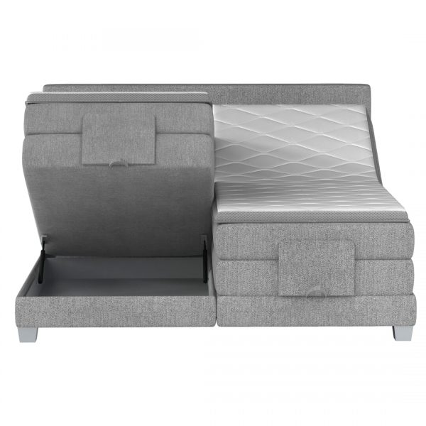 Aida Elevationsseng med opbevaring 180x200 grå stof