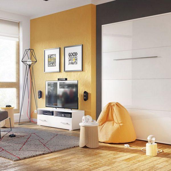 All-in-wall Vægseng : 90x200, Hvid / Hvid Højglans