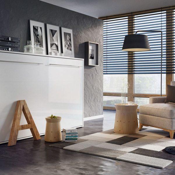 Concept Vægseng : 120x200, Hvid / Hvid Højglans