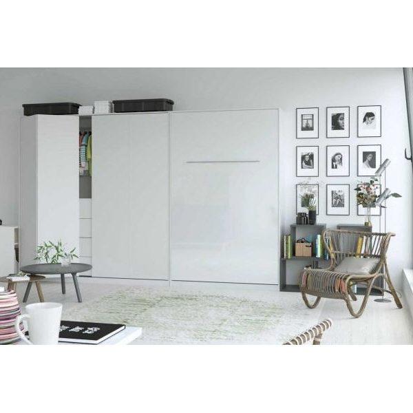 Premium Style Skabsseng 120x200. Lodret- Hvid/hvid Blank