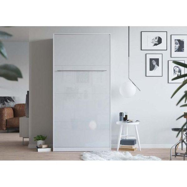 Premium Style Skabsseng 90x200. Lodret- Hvid/hvid Blank