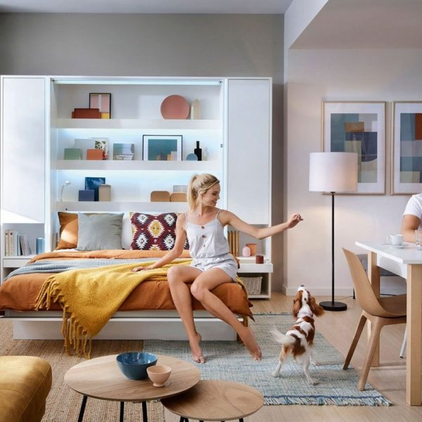 Seng Bed Concept Bc-02 - Lodret 120x200 : Hvid / Hvid Højglans, Uden Belysning Hylder, Uden Belysning, Uden Lysdioder