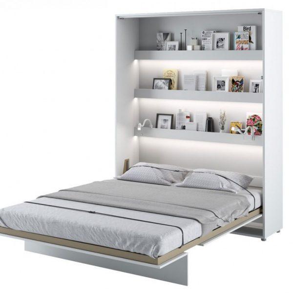 Seng Bed Concept Bc-12 - Lodret 160x200 : Hvid / Hvid Højglans, 2x Led Usb, Med Belysning Hylder, Lys - To Strips