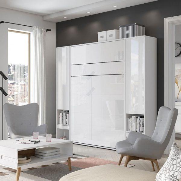Seng Bed Concept Bc-12 - Lodret 160x200 : Hvid / Hvid Højglans, Uden Belysning, Uden Lysdioder, Med Belysning Hylder