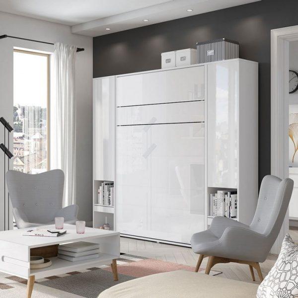 Seng Bed Concept Bc-13 - Lodret 180x200 : Hvid / Hvid Højglans, Uden Lysdioder, Med Belysning Hylder, Lys - To Strips